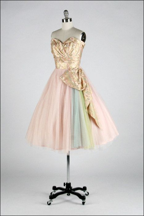 Vintage 1950s Prom Dress. Rainbow Tulle