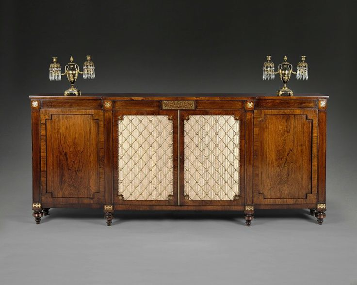 a regency rosewood side cabinet with brass inlay english circa