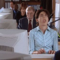 Share this office GIF with all your friends. Use GIFsme as a way to express yourself ♥ office tv black books annoying fran reactions tamsin greig working work computer typing nope gifs gif