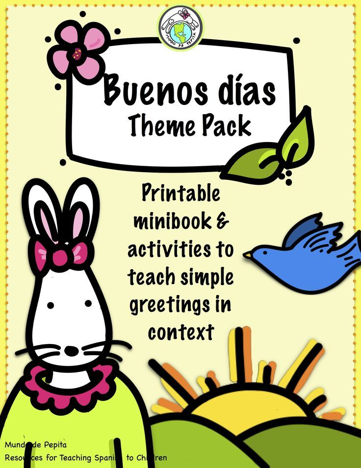 Teach Buenos días and buenas noches in context with this printable minibook and theme pack perfect for preschool and early elementary Spanish class! The theme pack includes games, story cards, stick puppets and more! Mundo de Pepita, Resources for Teaching Spanish to Children