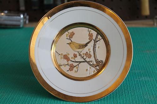Westland Co Chokin Bird Plate Gold And Silver Inlay