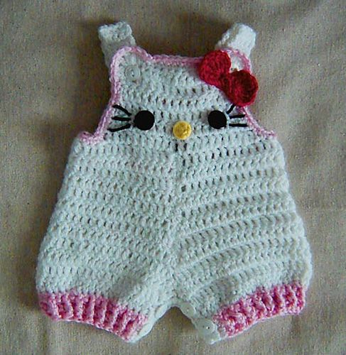 Ravelry: Hello Kitty Baby shorties, Buttons at legs for easy change pattern by Cathy Ren