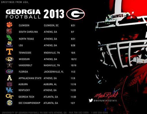 Georgia Football Schedule 2013