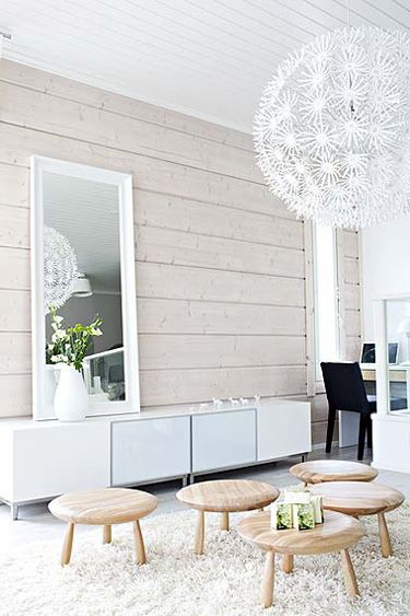 log walls and ceiling painted white