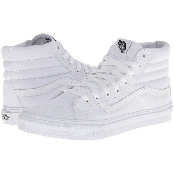 Vans Sk8-Hi Slim Core Classics ((Canvas) True White) Skate Shoes ($60) ❤ liked on Polyvore featuring shoes, sneakers, vans, white canvas sneakers, white shoes, white canvas high tops, vans sneakers and white high top sneakers