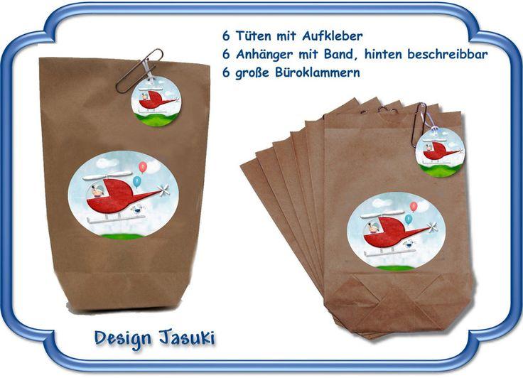 Geschenktüten - 6er Set Mitgebsel Tüten Hubschrauber Geburtstag - ein Designerstück von Kindergeburtstag1 bei DaWanda