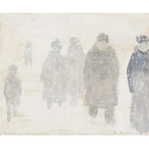 Jean Paul Lemieux, (Canadian 1904-1990), La neige, Watercolour, pencil and oil on paper, 13 3/4 by 17 in.