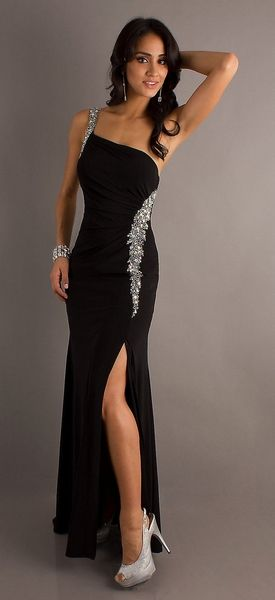 Eye Catching Long Sexy Black Formal Dress One Strap Open Slit $189.99