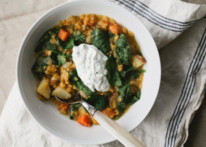 Red Lentil and Vegetable Soup with Chive Yogurt - Bon Appétit