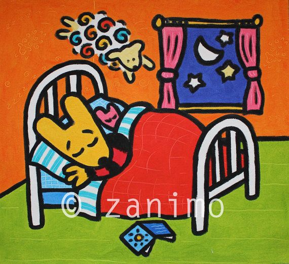 Maki sleeping jumping sheep moonlight  wall art by Zanimo on Etsy, $15.00