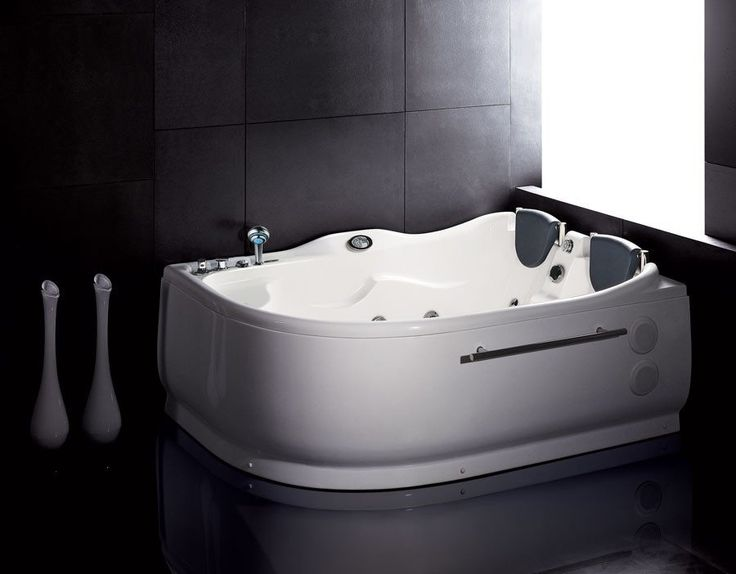 EAGO AM124-L 6' Double Corner Acrylic White Whirlpool Bathtub - Drain on Left