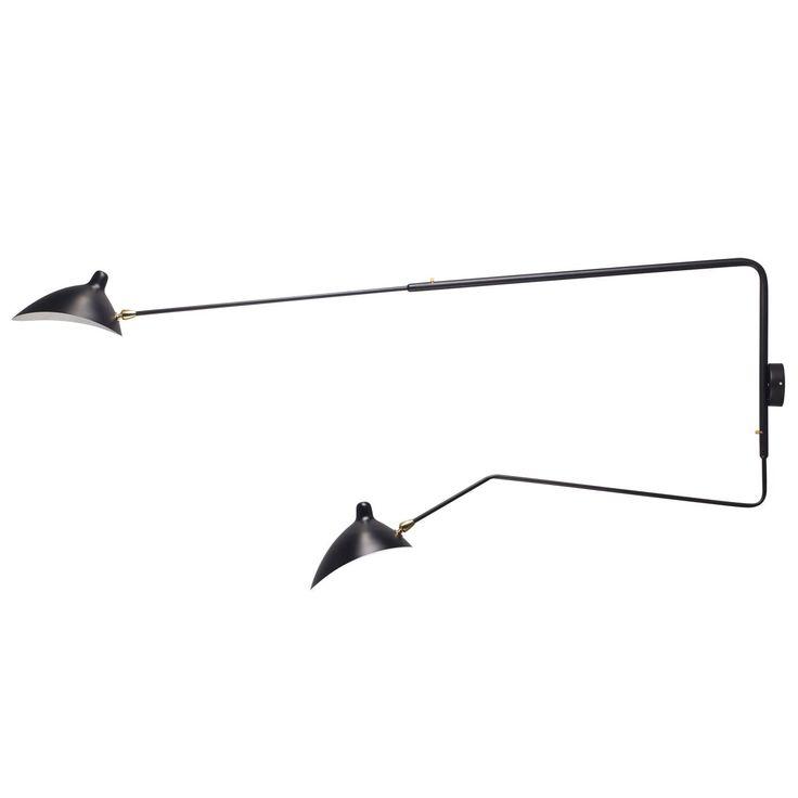 lampada a muro con due bracci pivotanti. 198 euro + spese di invio. superestudio. Il braccio piú lungo é fisso e misura 185 cm. L'altro, mobile, é lungo aprossimatamente un metro.
