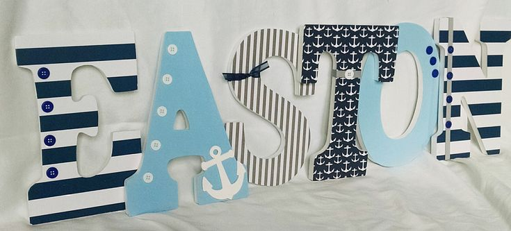 Nautical letters, nautical nursery letters, navy and baby blue wooden letters, hanging wall letters, wooden letters for boy by JessCreativeCorner on Etsy https://www.etsy.com/listing/468194742/nautical-letters-nautical-nursery