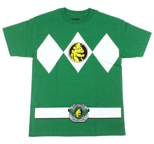 The Power Rangers Green Rangers Costume Adult T-shirt Tee, Green, X-Large