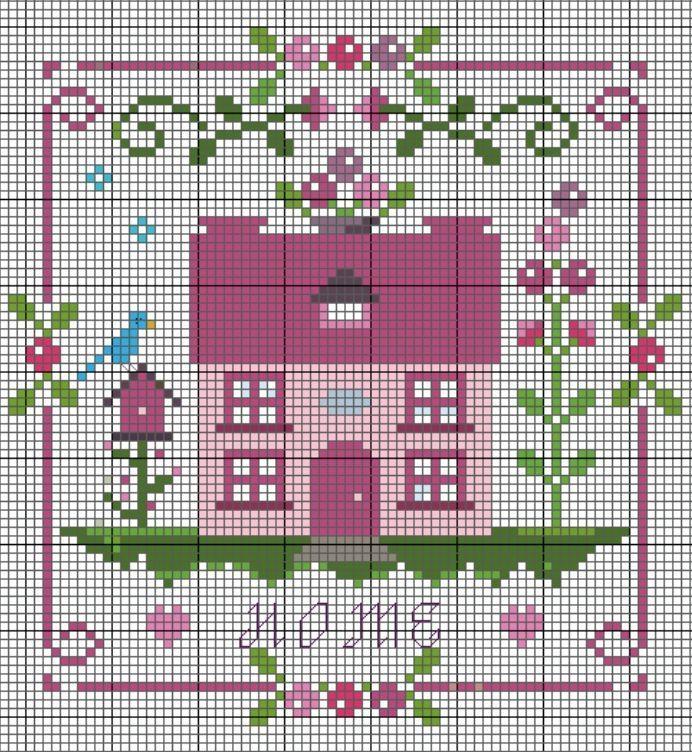 Charming old fashioned style home cross stitch pattern. #cross_stitch #patterns