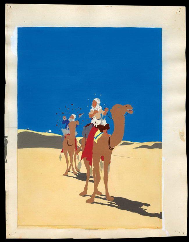 Herge Le Crabe aux pinces d or Bleu de coloriage de l'illustration de couverture de l'album aquarelle et gouache sur épreuve imprimée