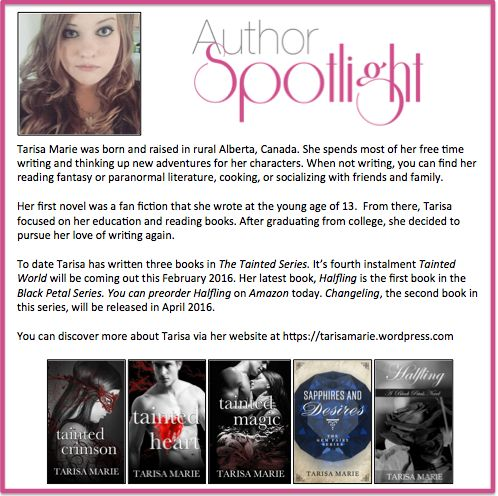 This week's #AuthorSpotlight is #TarisaMarie the #Canadian author of #TheTaintedSeries and the #BlackPetalSeries