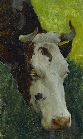 Artwork by Marc-Aurele de Foy Suzor-Cote, Study of a cow, Made of oil on panel