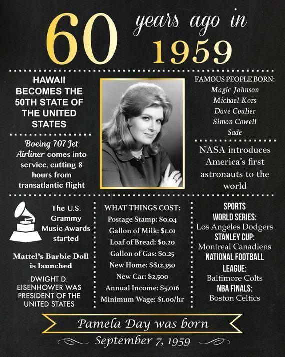 Personifiziertes 60 Geburtstags Tafel Plakat 1959 Tatsachen