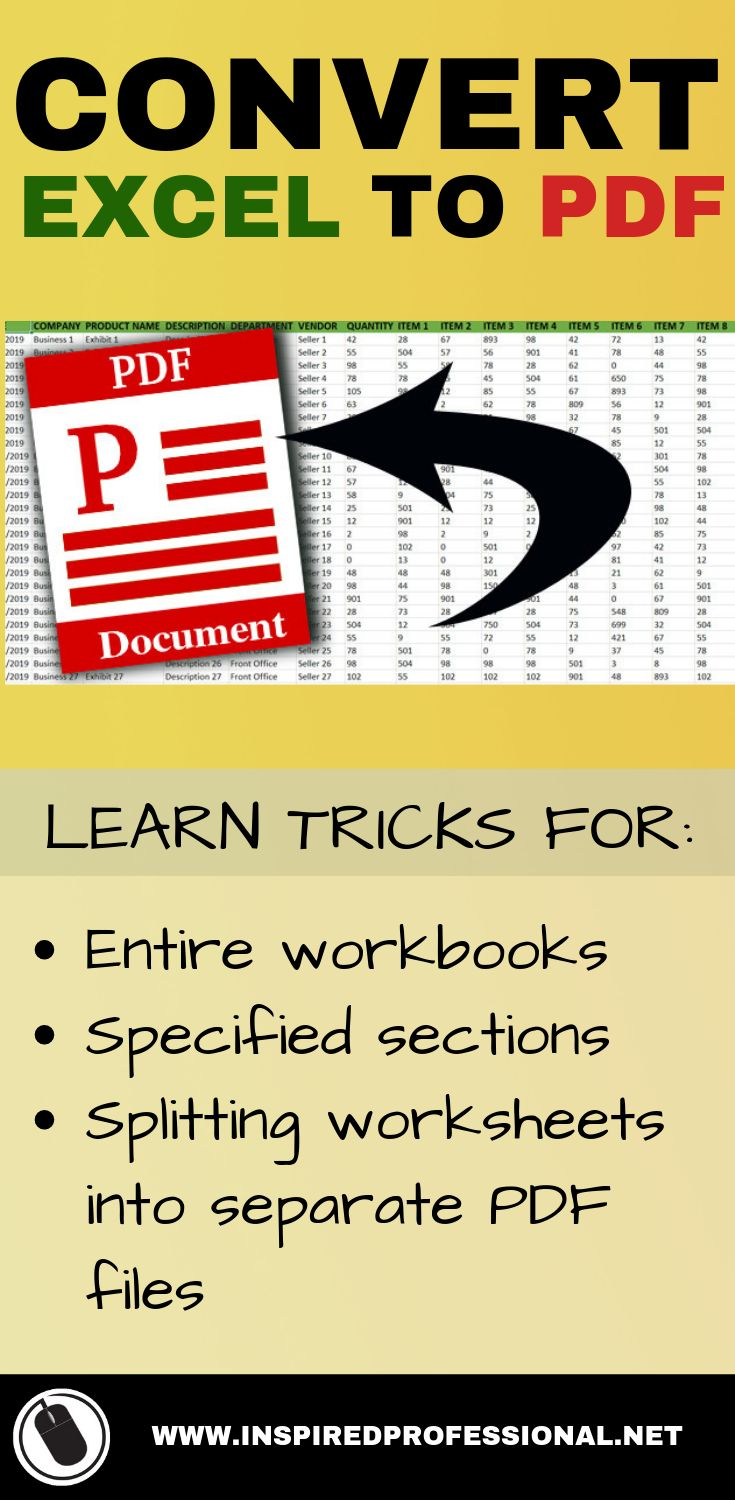 CONVERT EXCEL SPREADSHEET TO PDF SELECTIONS, SEPARATE
