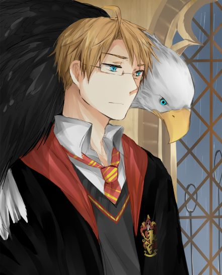 Alfred as a student at Hogwarts in a crossover between Hetalia and Harry Potter - Art by chimelon.tumblr.com