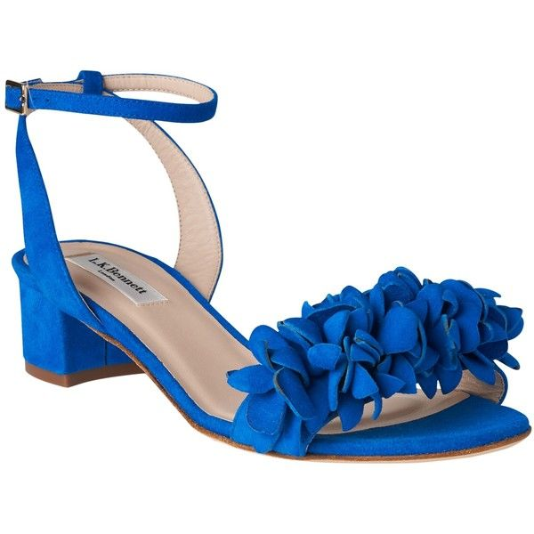 L.K. Bennett Coralie Flower Ruffle Sandals (8.705 RUB) ❤ liked on Polyvore featuring shoes, sandals, majorelle, low block heel shoes, leather shoes, mid-heel sandals, low mid heel sandals and flower shoes