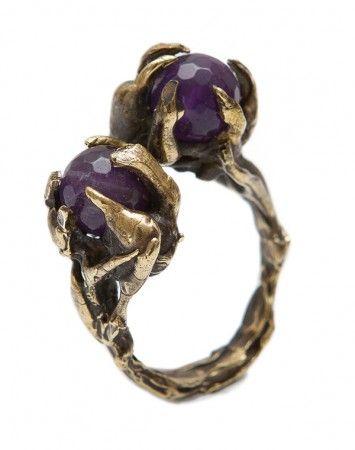ToniMay Amethyst Petrichor brass ring