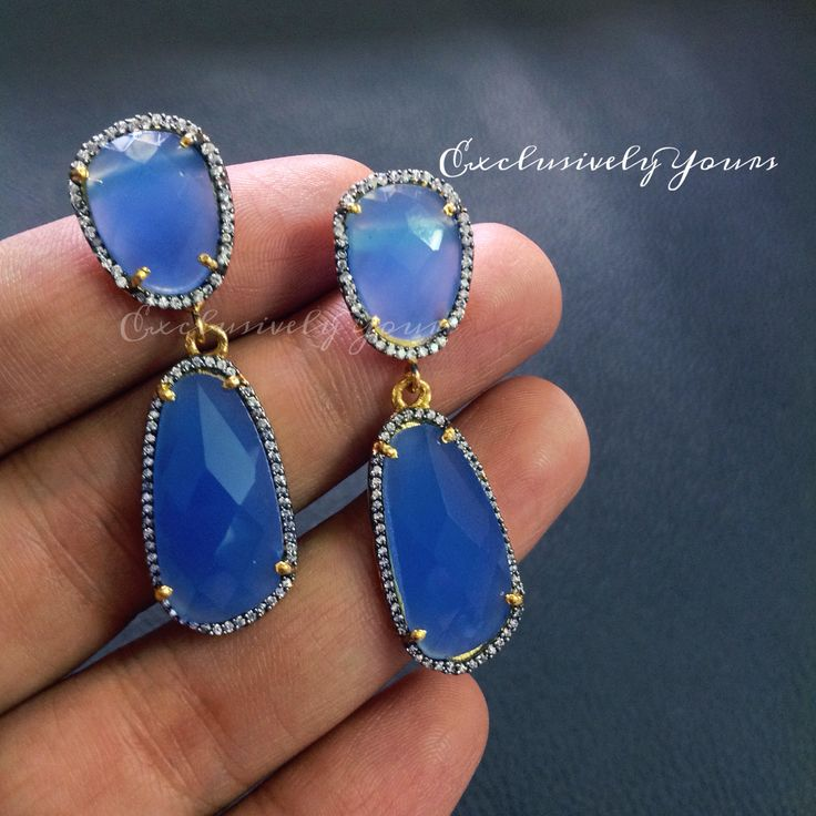 Cool transparent blue stone earrings. Make it your @ ExclusivelyYours  WhatsApp : 999-444-0659 Email: CustomerCareEY@gmail.com