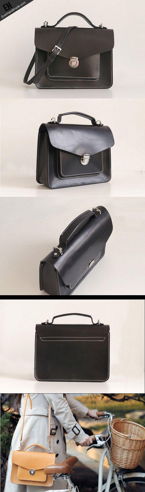 Handmade Leather satchel bag shoulder bag small black for women leather shoulder bag