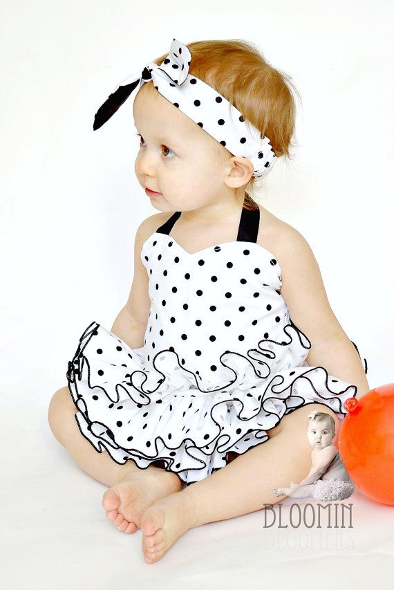 Black and White Polka Dots Fabric Tutu All Around Ruffle Diaper Cover Tutu Panty Skirt