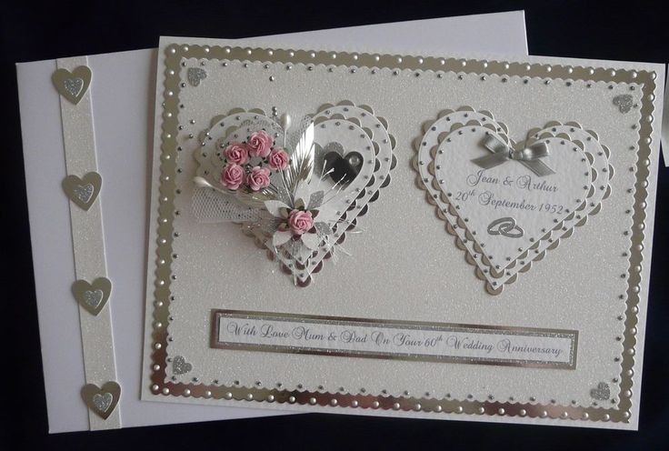 Personalised Diamond 60th Wedding Anniversary Card +Box Any colour flowers Avail