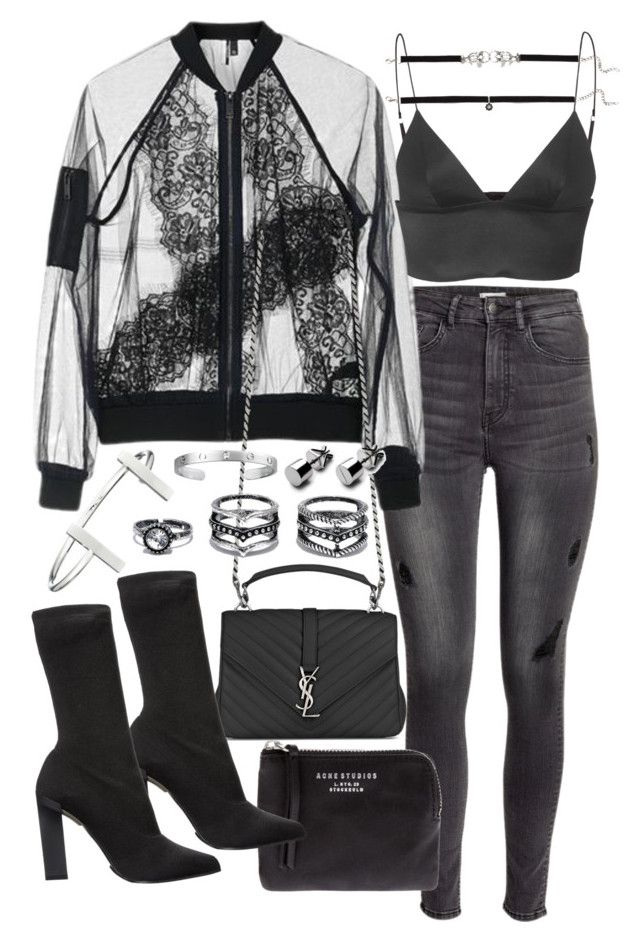 """Untitled #20153"" by florencia95 ❤ liked on Polyvore featuring H&M, Topshop, T By Alexander Wang, Yves Saint Laurent, Acne Studios, Calvin Klein Collection, LULUS, French Connection and Cartier"
