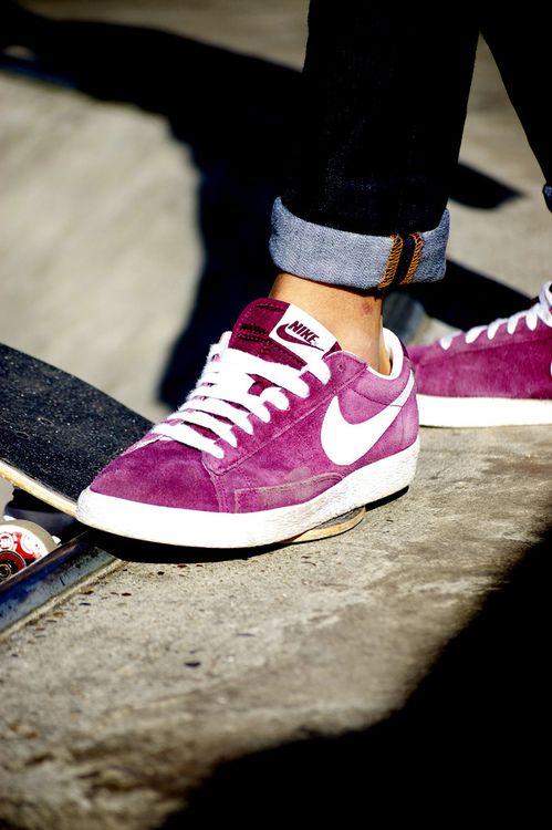 nike blazer low vintage suede purple heel