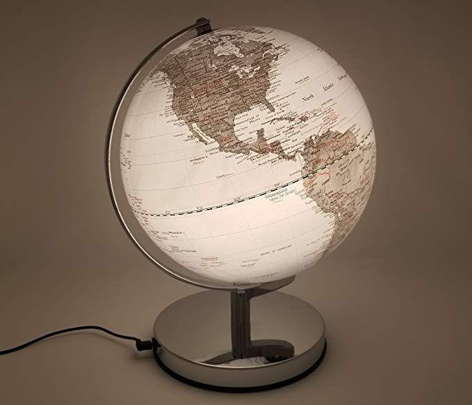 Amazon Com Metallic Illuminated Glowing Led Decorative Modern Nightlight World Globe For Home Decor And Lamp Globe Desk Globe Globe Decor Modern Night Light