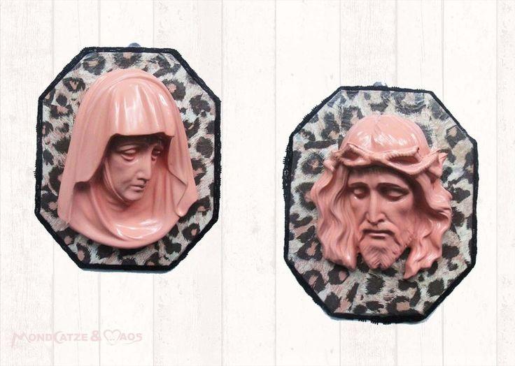 Jesus + Maria, Heiligenbilder Rosa Leopard Spitze von Mondcatze´s Zauberwerkstatt auf DaWanda.com