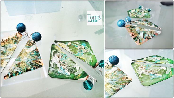 Painted earrings & gemstones  www.temporarylab.com