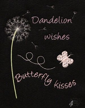 Dandelion wishes Butterfly kisses embroidery design for 5x7 hoops.  Finished…