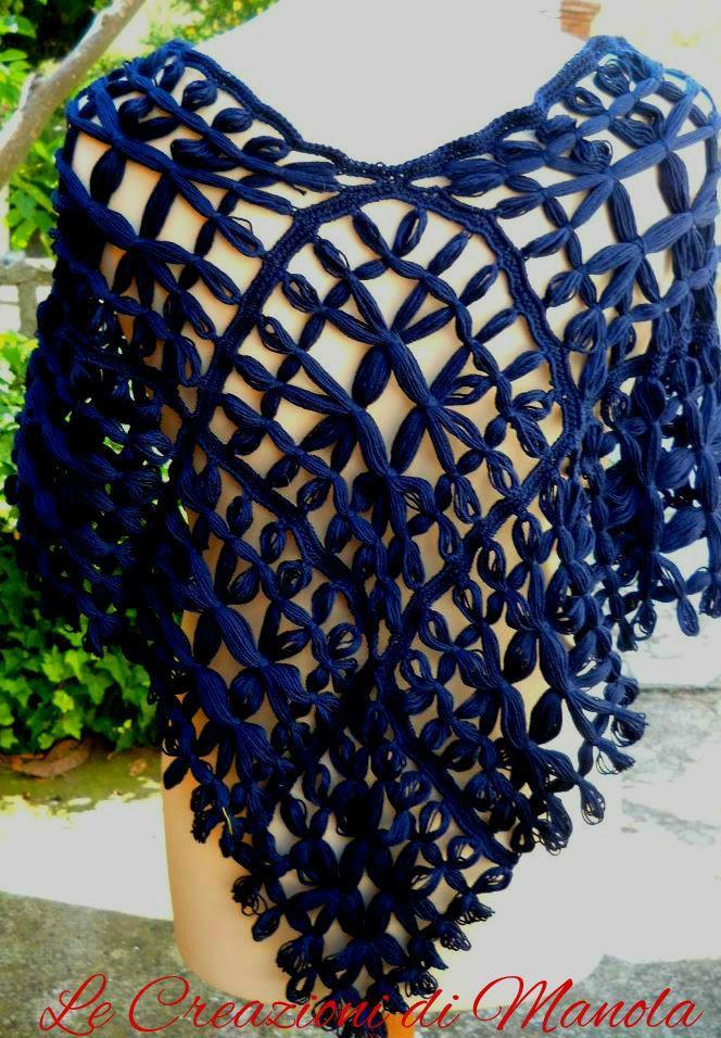 PONCHO DONNA IN COTONE AL TELAIETTO, by Le creazioni di Manola, 50,00€ su misshobby.com