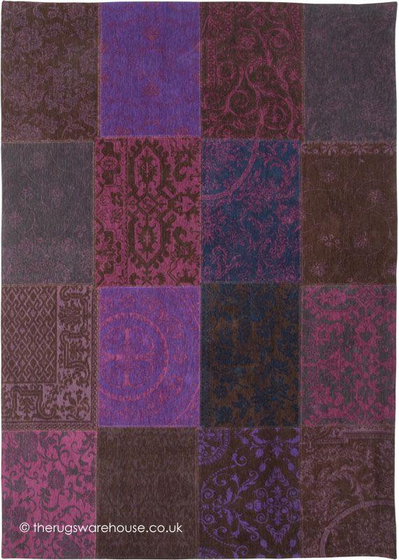 Vintage Violet Rug Louis De Poortere A Patchwork Style Cotton Chenille Designer Carpet