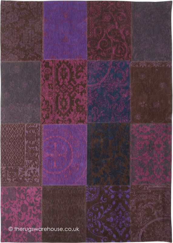 Vintage Violet Rug (Louis de Poortere), a patchwork style cotton chenille designer carpet in several shades of purple (100% cotton, machine-woven) http://www.therugswarehouse.co.uk/patchwork-rugs/vintage-violet-rug.html