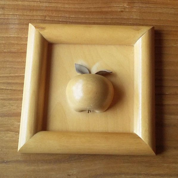 Aarikka Finland Vintage Wooden Wall Hanging Picture Apple Natural Color Signed