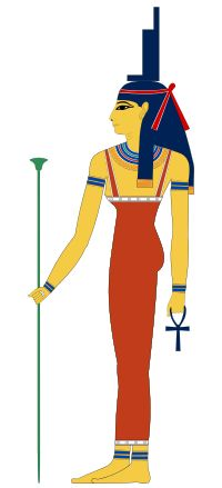 Isis: Goddess of health, marriage, and wisdom -The goddess Isis portrayed as a woman, wearing a headdress shaped like a throne with and Ankh in her hand.  Isis.svg