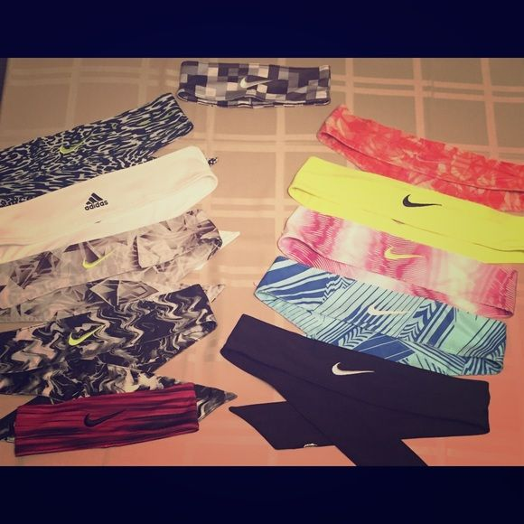 Headbands- Nike, Nike tie, Adidas Tie Headbands, made famous by Skylar Diggins, Nike tie headbands, white Adidas tie headband and Nike thick headbands. Just let me know which one(s) you're interested in and I will create another post Nike Accessories Hair Accessories