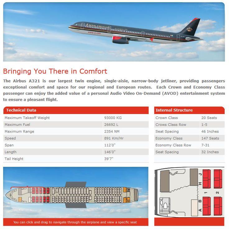 ROYAL JORDANIAN AIRLINES AIRBUS A321 AIRCRAFT SEATING CHART
