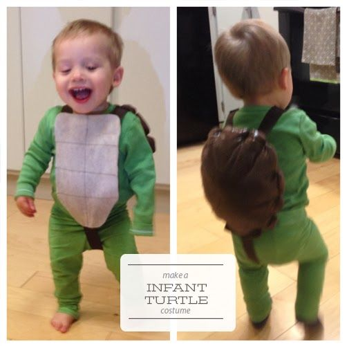 no sew baby turtle costume. Make infant turtle costume. One Project at a Time - DIY Blog