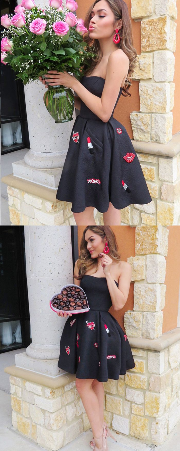 Strapless black satin applique homecoming dress with pockets hd