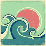 Vintage Sun And Sea Waves. Vector Icons Of Illust Royalty Free Stock Photo - Image: 32251715