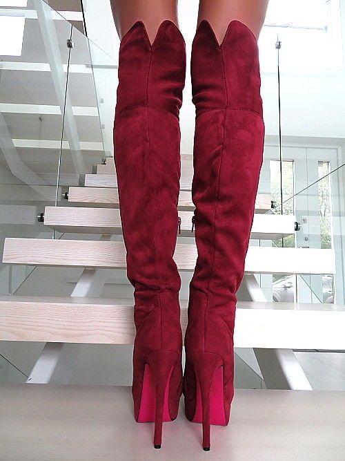 Lange Overknee Stiefel NEU HOHE Plateau Rot Z67 Schuhe Red Boots Sexy High Heels