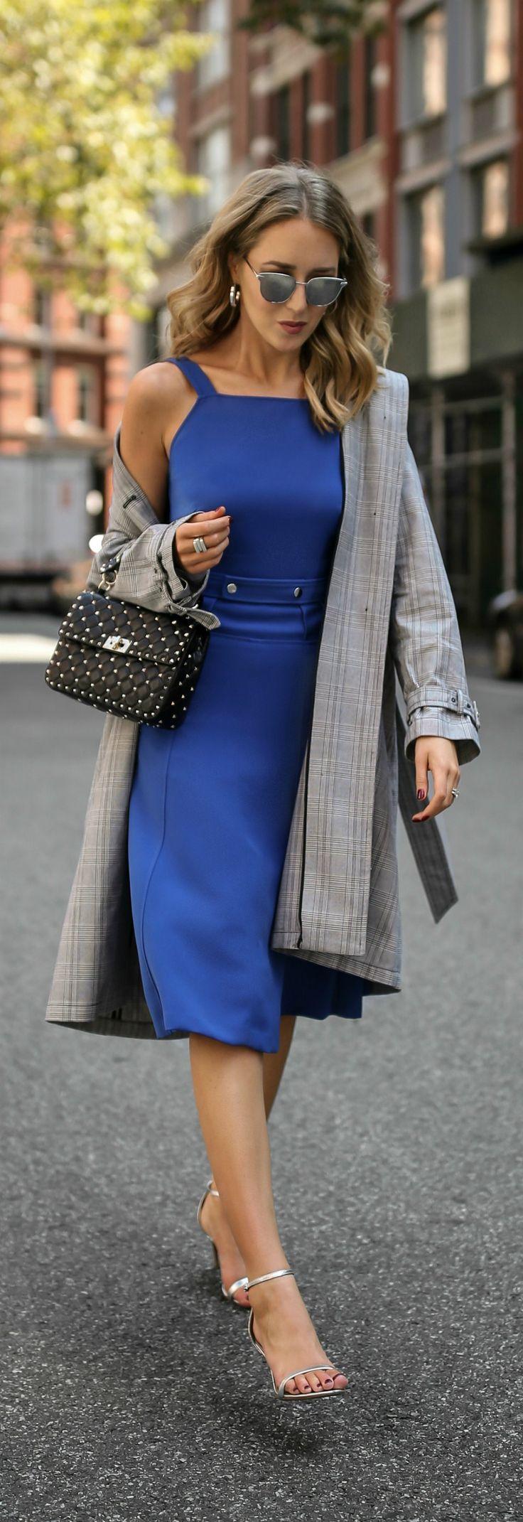 Cobalt Dress + Checked Trench // Cobalt blue belted dress, checked trench coat, leather shoulder bag, black ankle strap sandals, mirrored sunglasses {GREY Jason Wu, Zara, Valentino, Sam Edelman, fashion week}
