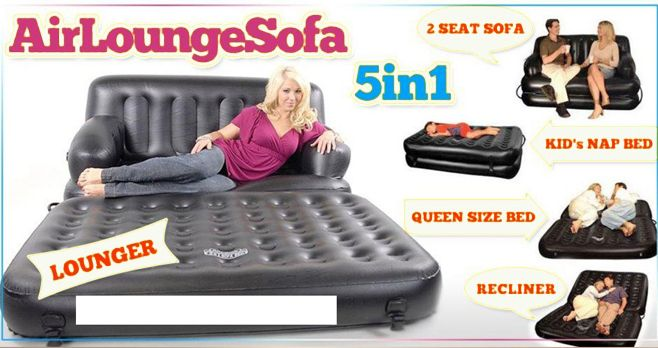 Air Sofa Bed is one of the best sophisticated bed and air sofa bed is many usages such as launge, air launger and recliner etc. Air Sofa Bed is poerfect solution for seating and sleeping. http://www.5in1-airsofa.in